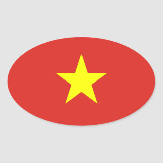 Vietnam - bandera vietnamita pegatina ovalada
