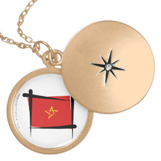 Vietnam Brush Flag Gold Plated Necklace