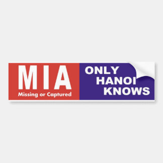 "Vietnam Bumper Sticker MIA ""Only Hanoi Knows"" 1970"