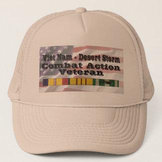 Vietnam - Desert Storm Combat Action Vet Trucker Hat