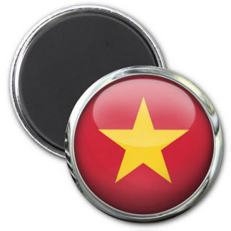 Vietnam Flag Glass Ball 2 Inch Round Magnet