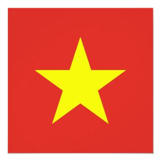 "Vietnam Flag Invitation 5.25"" Square Invitation Card"