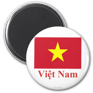 Vietnam Flag with Name in Vietnamese 2 Inch Round Magnet