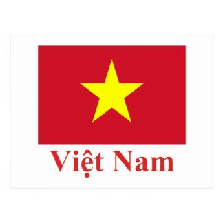 Vietnam Flag with Name in Vietnamese Postcard