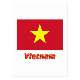 Vietnam Flag with Name Postcard