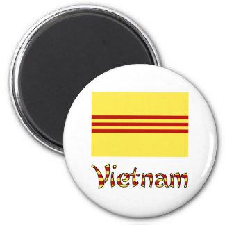 Vietnam Flag & Word Pre-1974 2 Inch Round Magnet