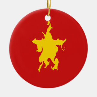 Vietnam Gnarly Flag Double-Sided Ceramic Round Christmas Ornament