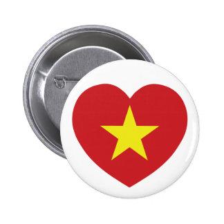 Vietnam Heart Flag Pinback Buttons