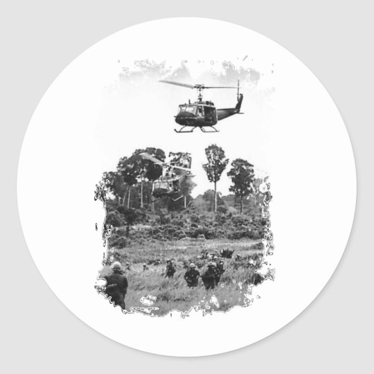 Vietnam Huey Landing Classic Round Sticker