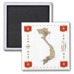 Vietnam Map + Flags Magnet