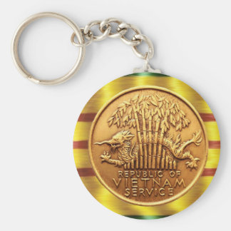 Vietnam service medal key ring basic round button keychain