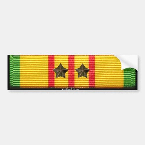 Vietnam Service Ribbon _ 2 Campaign Stars Bumper Sticker