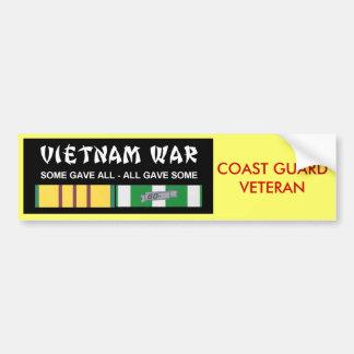 VIETNAM SERVICE RIBBONS - COAST GUARD VET CAR BUMPER STICKER