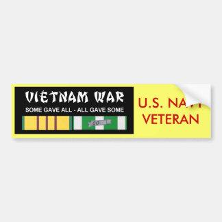VIETNAM SERVICE RIBBONS - NAVY VET CAR BUMPER STICKER
