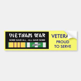 VIETNAM SERVICE RIBBONS - PROUD TO SERVE VET CAR BUMPER STICKER