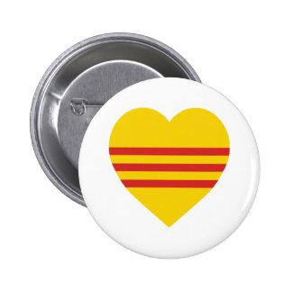 Vietnam (South) Flag Heart Buttons