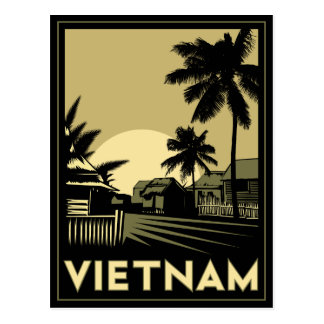 vietnam southeast asia art deco retro travel postcard
