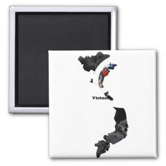 Vietnam Trendy Peace Sign with Vietnamese map 2 Inch Square Magnet