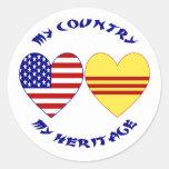 Vietnam USA Heritage Classic Round Sticker