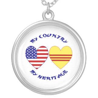 Vietnam USA Heritage Round Pendant Necklace