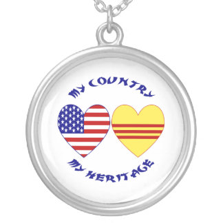 Vietnam USA Heritage Silver Plated Necklace