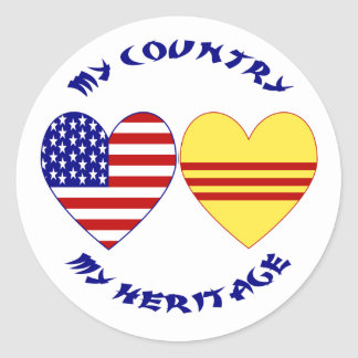 Vietnam USA Heritage Round Stickers