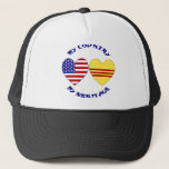 "Vietnam USA Heritage Trucker Hat<br><div class=""desc"">Heart-shaped flags of USA and South Vietnam,  with the words,  &quot;my country my heritage&quot;. Great way for American Vietnamese to show love and pride in their Vietnamese and American cultures,  heritages and ancestries.</div>"