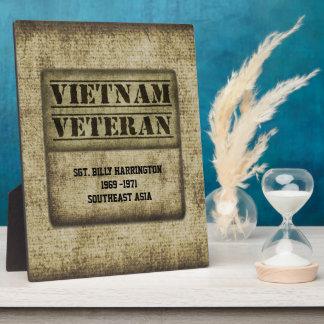 Vietnam Vet Gratitude Commemorative Personalized Display Plaques