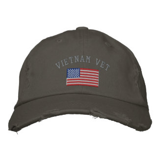 Vietnam Vet with American Flag Embroidered Baseball Hat