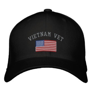 Vietnam Vet with American Flag Military Embroidered Baseball Hat