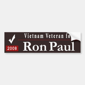 Vietnam Veteran for Ron Paul -black Car Bumper Sticker