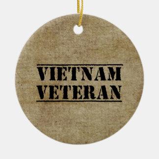 Vietnam Veteran Military Double-Sided Ceramic Round Christmas Ornament