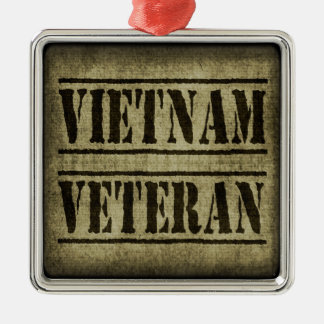 Vietnam Veteran Military Square Metal Christmas Ornament