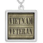 Vietnam Veteran Military Square Pendant Necklace