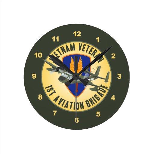 Vietnam Veteran Mohawk Round Wall Clocks