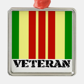 Vietnam Veteran Square Metal Christmas Ornament