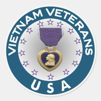Vietnam Veterans of the USA Purple Heart Classic Round Sticker