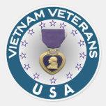 Vietnam Veterans of the USA Purple Heart Round Sticker