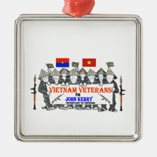 VIETNAM VETS for KERRY Square Metal Christmas Ornament