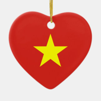 Vietnam – Vietnamese Flag Double-Sided Heart Ceramic Christmas Ornament