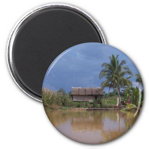 Vietnam village waterfront 2 inch round magnet