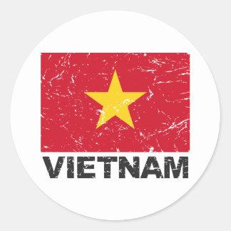 Vietnam Vintage Flag Classic Round Sticker