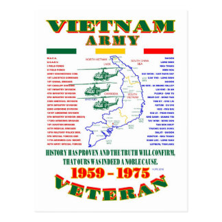 VIETNAM WAR. AMERICAN ARMY VETERAN POSTCARD