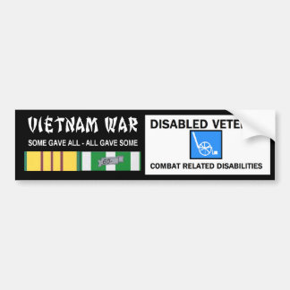 VIETNAM WAR - DISABLED VET - COMBAT RELATED BUMPER STICKER