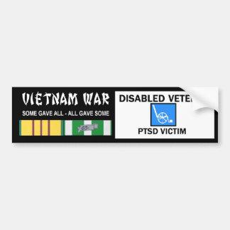 VIETNAM WAR - DISABLED VET - PTSD VICTIM CAR BUMPER STICKER