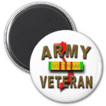 Vietnam War Veteran Service Ribbon, ARMY 2 Inch Round Magnet