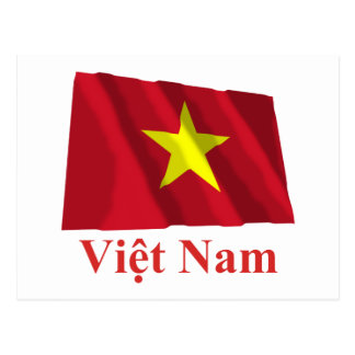 Vietnam Waving Flag with Name in Vietnamese Postcard