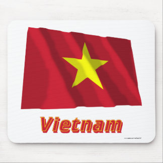 Vietnam Waving Flag with Name Mouse Pad