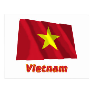 Vietnam Waving Flag with Name Postcard