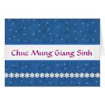 VIETNAMESE Chuc Mung Giang Sinh Snowflakes BLUE Card